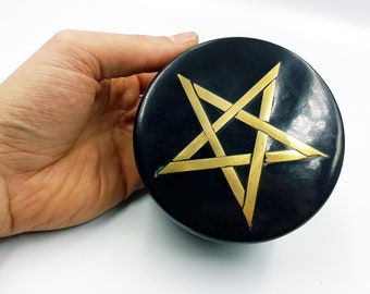 Black Stone Copper Pentagram Altar | Jewellery Box