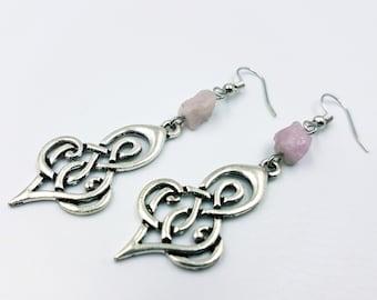Kunzite Tribal Earrings