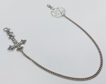 Inverted Cross Pentacle Wallet Chain
