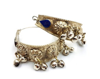 Vintage Bell Hoop Earrings with Turquoise or Lapis Lazuli Stones - (To wear with plugs)