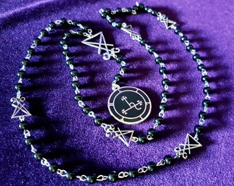 Sigil of Lilith Rosary - occult left hand path seal of lilith cloisonne