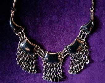 Vintage Black Agate Necklace.