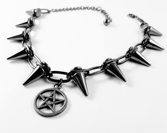 Cone Spike Pentagram Choker