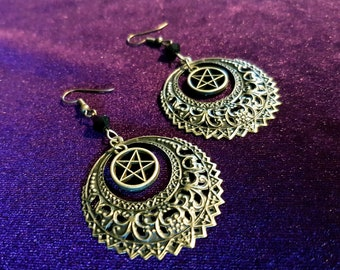 Crescent Pentacle Earrings