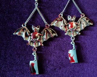 Bloody Bat Cleaver Earrings - Horror Halloween red resin blood meat cleaver jewellery