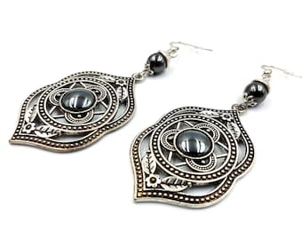 Traditional Victorian Gothic Hematite Earrings