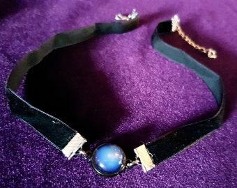 Mini Gothic Gemstone Choker (Amethyst/Opalite)