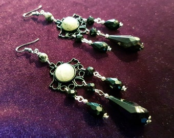 Traditional Victorian Labradorite Gemstone Earrings