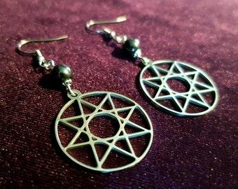 Octagram Earrings (Stainless Steel) - Sacred geometry occult symbolism