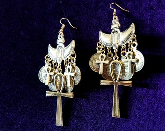 Golden Ankh Earrings