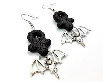 Lavastone Ankh Vampire Earrings