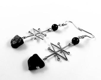 Sigil of Azazel Tourmaline Earrings