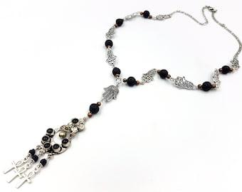 Hamsa Lava Necklace