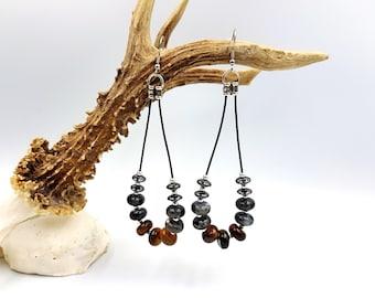 Labradorite, Tigereye & Hematite Gemstone Loop Earrings