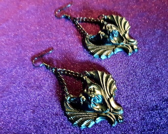 Black Resin Gargoyle Earrings