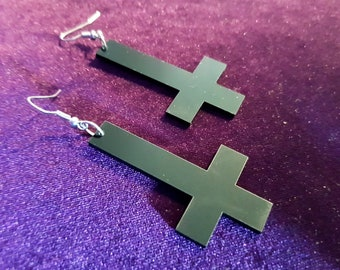 Black Inverted Cross Earrings