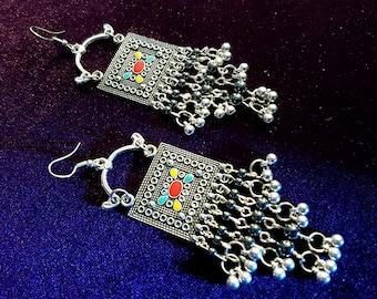 Ethnic Gypsy Hematite Earrings