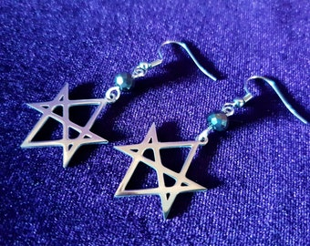 Unicursal Hexagram Earrings (Stainless Steel)