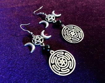 Hekate's Wheel (Strophalos) Inverted Pentagram Earrings