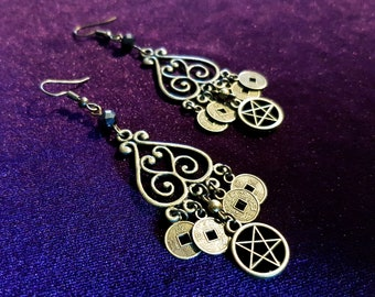 Inverted Pentagram Coin Earrings