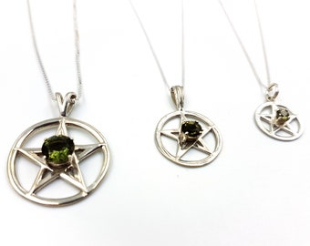 Sterling Silver Pentagram Pendant with Moldavite Crystal (3 different sizes)