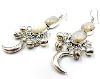 Crescent MoonStone Earrings(47ct)