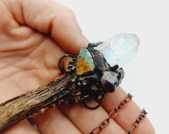 Crystal Wand Antler Necklace (Electroformed Copper)