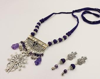 Vedic Hindu Shakti Shiva Amethyst Necklace & Earrings Set