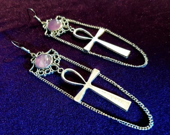 Ankh Amethyst Earrings