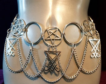 Sigil of Lucifer Pentacle Hip Chain Belt
