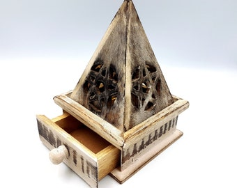 Wooden Pyramid Pentagram Incense Holder / Burner