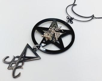 Luciferian Baphomet Crescent Necklace