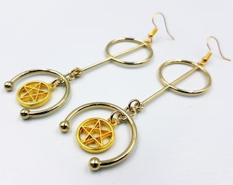 Elegant Long Inverted Pentagram Earrings