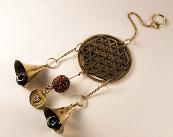Flower of Life Rudraksha Seed Wind Bells - ( Eye of shiva, Shivas Teardrops)