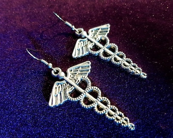 Caduceus Earrings (2 Styles)