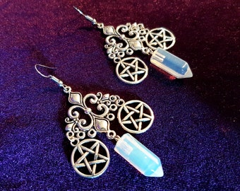 Opal Pentagram Witch Earrings