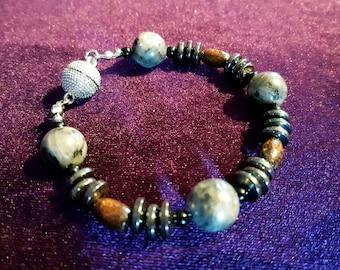 Labradorite & Hematite Stone Bracelet