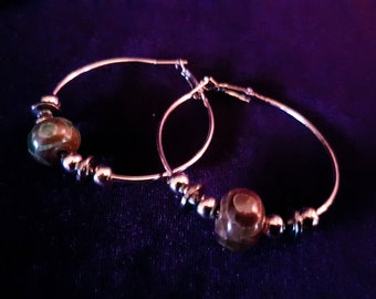 Dzi Bead Hoop Earrings
