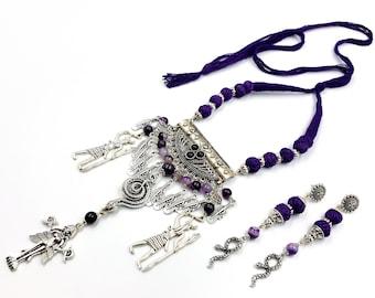 Baal & Astarte Amethyst Necklace / Earstuds Set