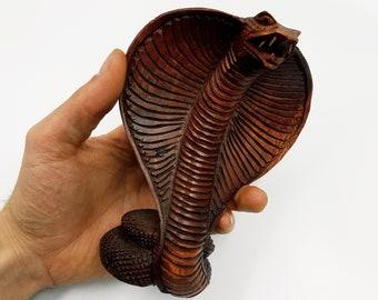 Handcarved Wooden Cobra Statue (Medium)