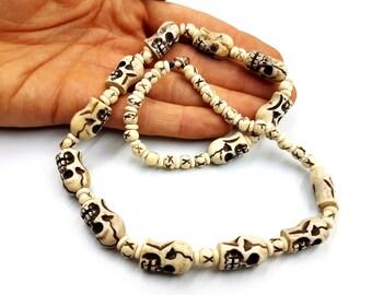 Hoodoo Yak Bone Skull Necklace