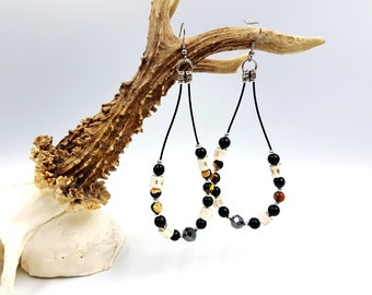 Leviathan Loop Bone Earrings with Black / Orange Agate & Hematite Stones