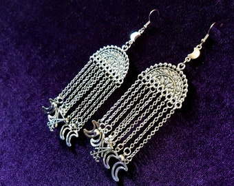 Long Luciferian Earrings with Crescent Moons