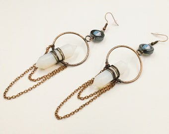 Opalite Crystal Frequency Earrings (With Hematite)