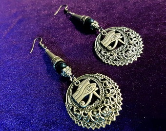 Eye of Horus Obsidian Earrings