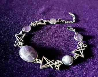 Amethyst Sigil of Lucifer Bracelet