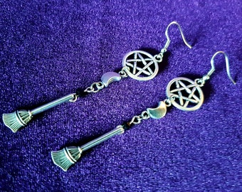 Broomstick Witch Earrings