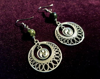 Yin Yang Kambaba stone Earrings