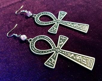 Double sided Ankh Earrings (Steel)