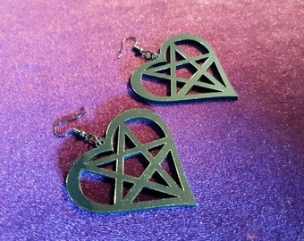 Black Heart Inverted Pentagram Earrings